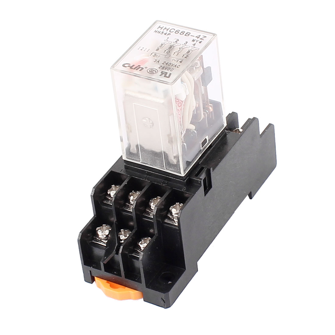 AC 220V Coil Red LED Indicator Light 14Pin 4PDT Power Relay HHC68B-4Z w Socket