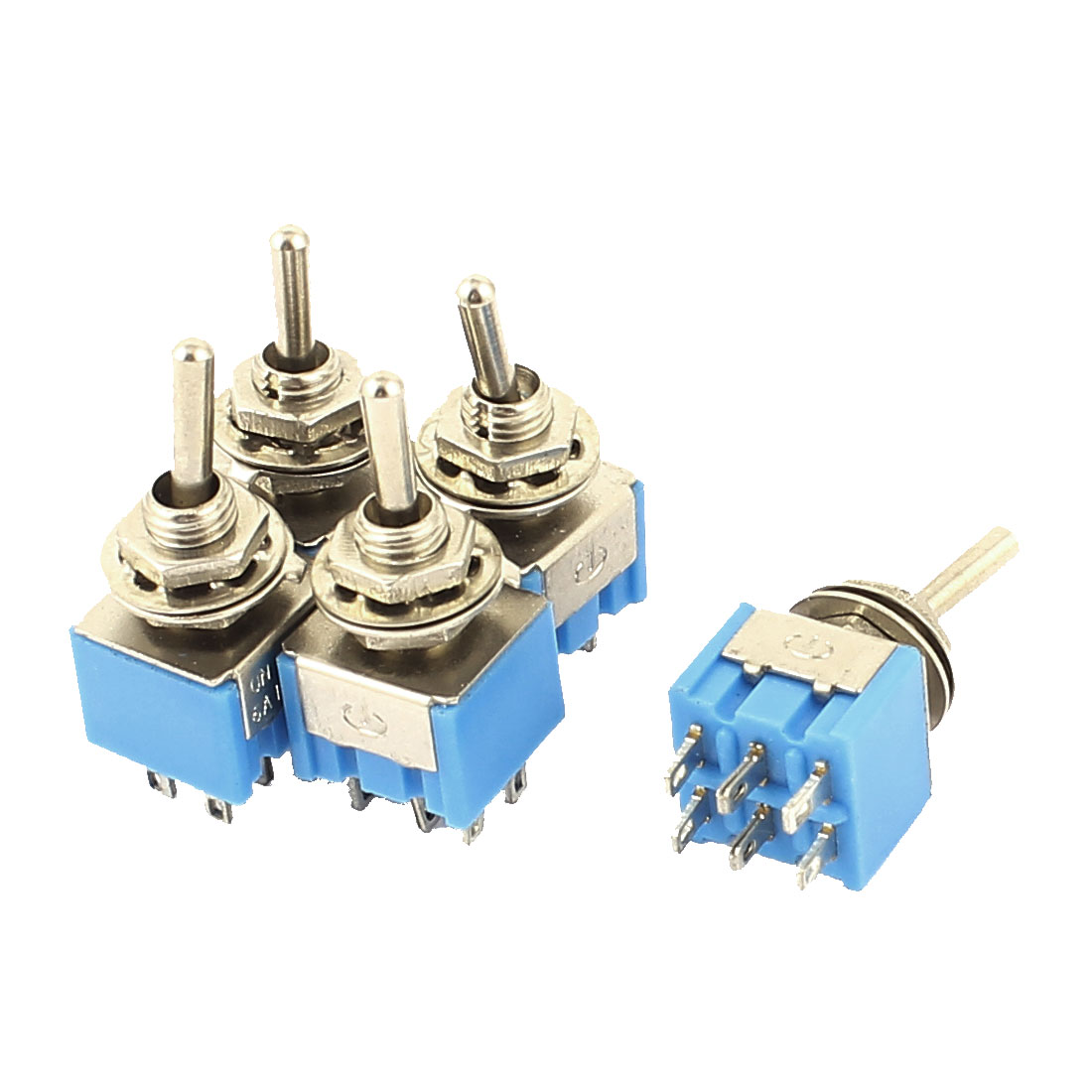 5Pcs 3 Position ON/OFF/ON DPDT Mini Latching Toggle Switch Blue AC 125V 6A