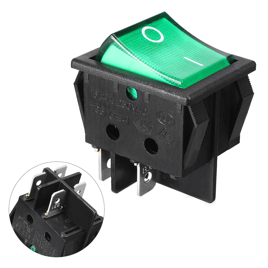 Green LED Light DPST 4 Pin Snap-in Rocker Boat Switch AC 250V 16A 125V 20A