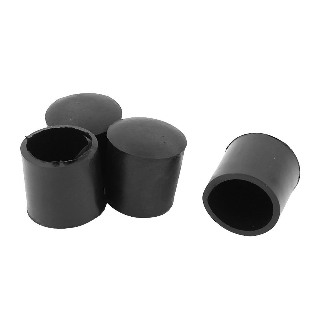 4Pcs Soft Rubber Round Table Chair Leg Foot Cover Holder 24mm Black