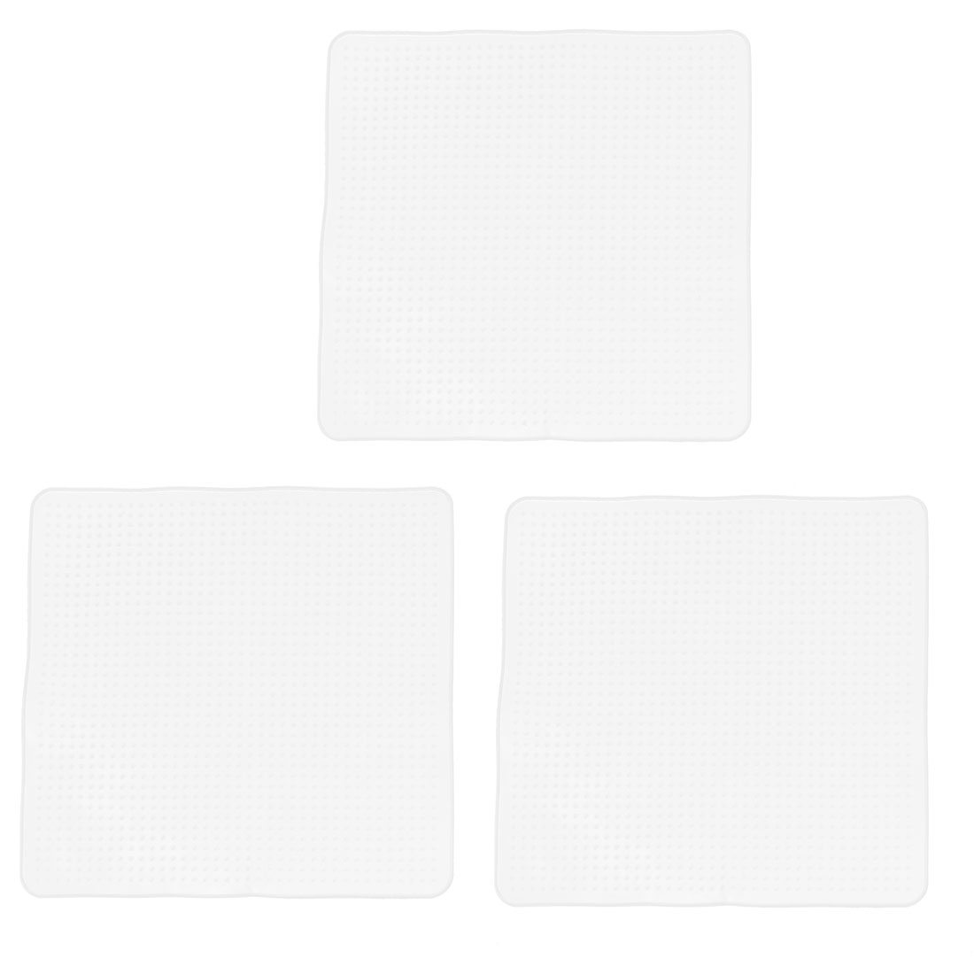 Kitchen Square Silicone Stretch Film Food Storage Seal Cover Wrap Lid Clear 3Pcs