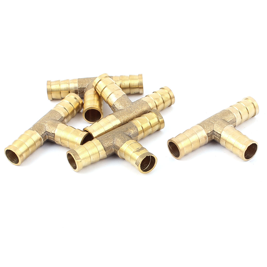 10mm Dia Tee T-Piece Pipe Hose 3 Way Joiner Connector Adapter Gold Tone 5Pcs