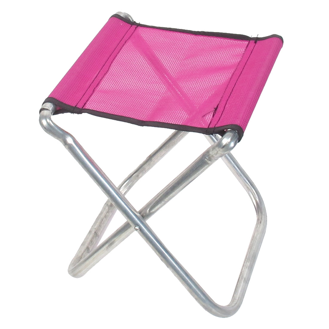 Outdoor Hiking Travel Metal Frame Nylon Seat Portable Folding Chair Stool Magenta