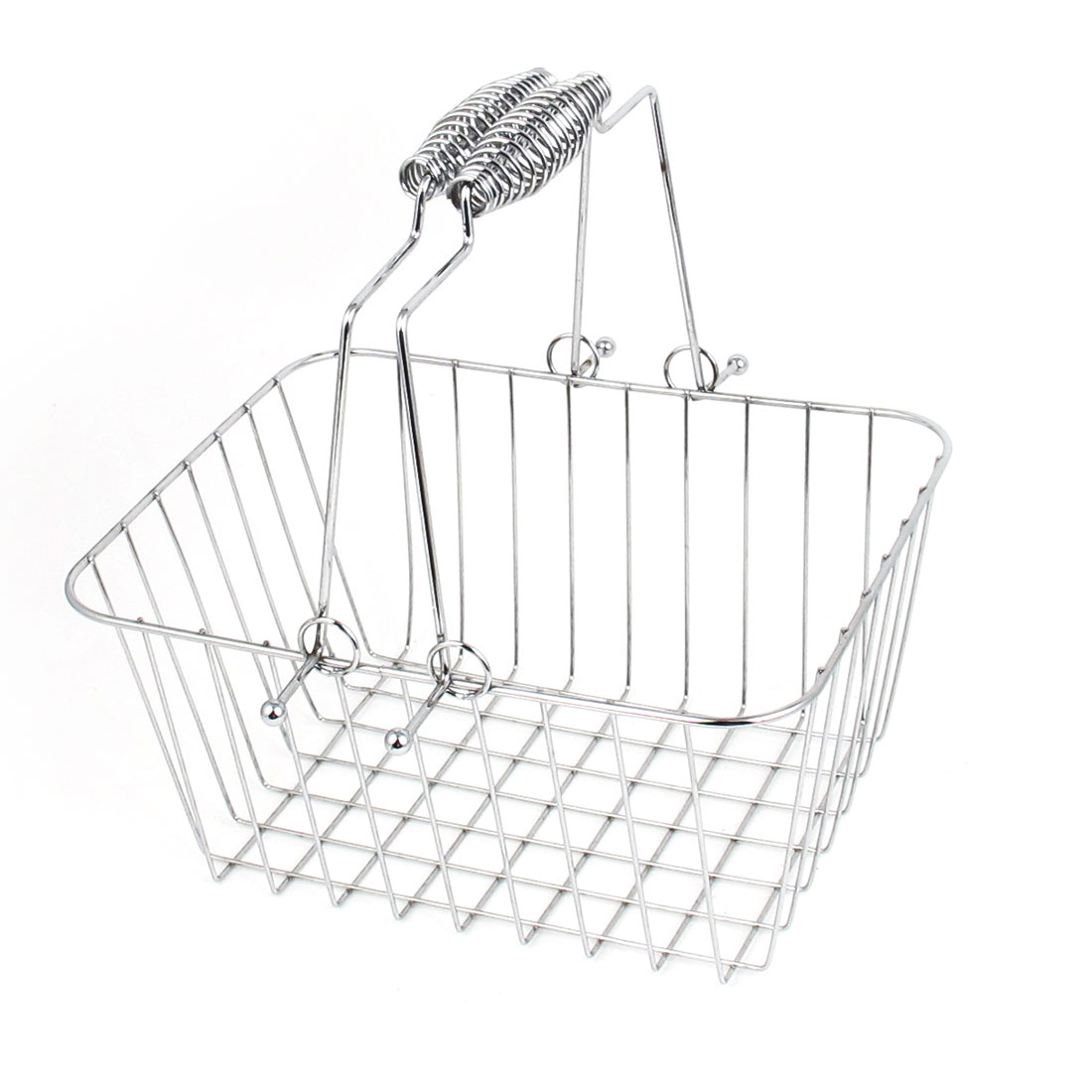 Silver Tone Metal Rectangular Wire Storage Basket Organizer Holder Container w Handle