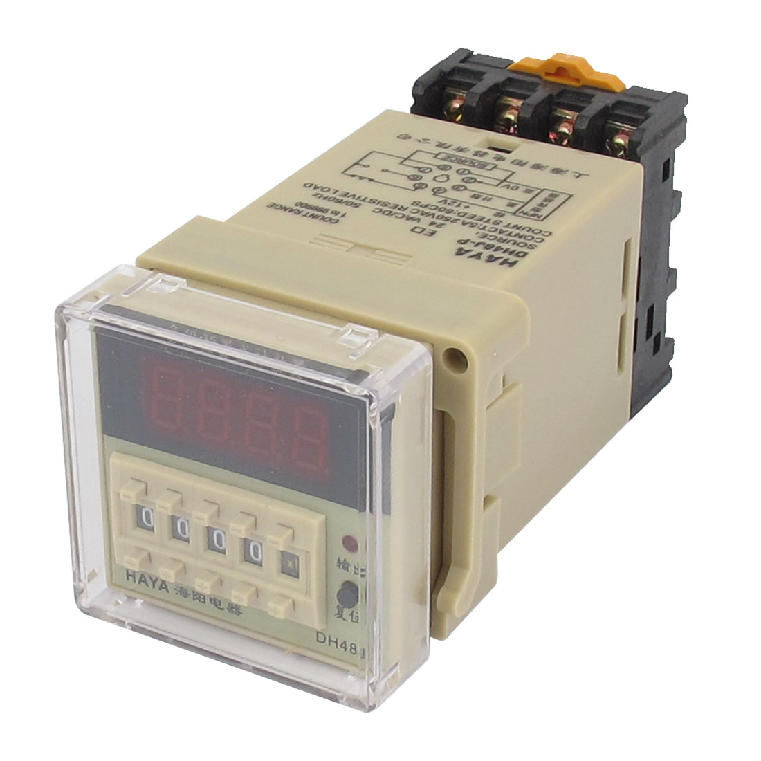 DH48J-P AC/DC 24V 50/60Hz 1-999900 8 Terminals LED Display Digital Counter Timer Delay Relay