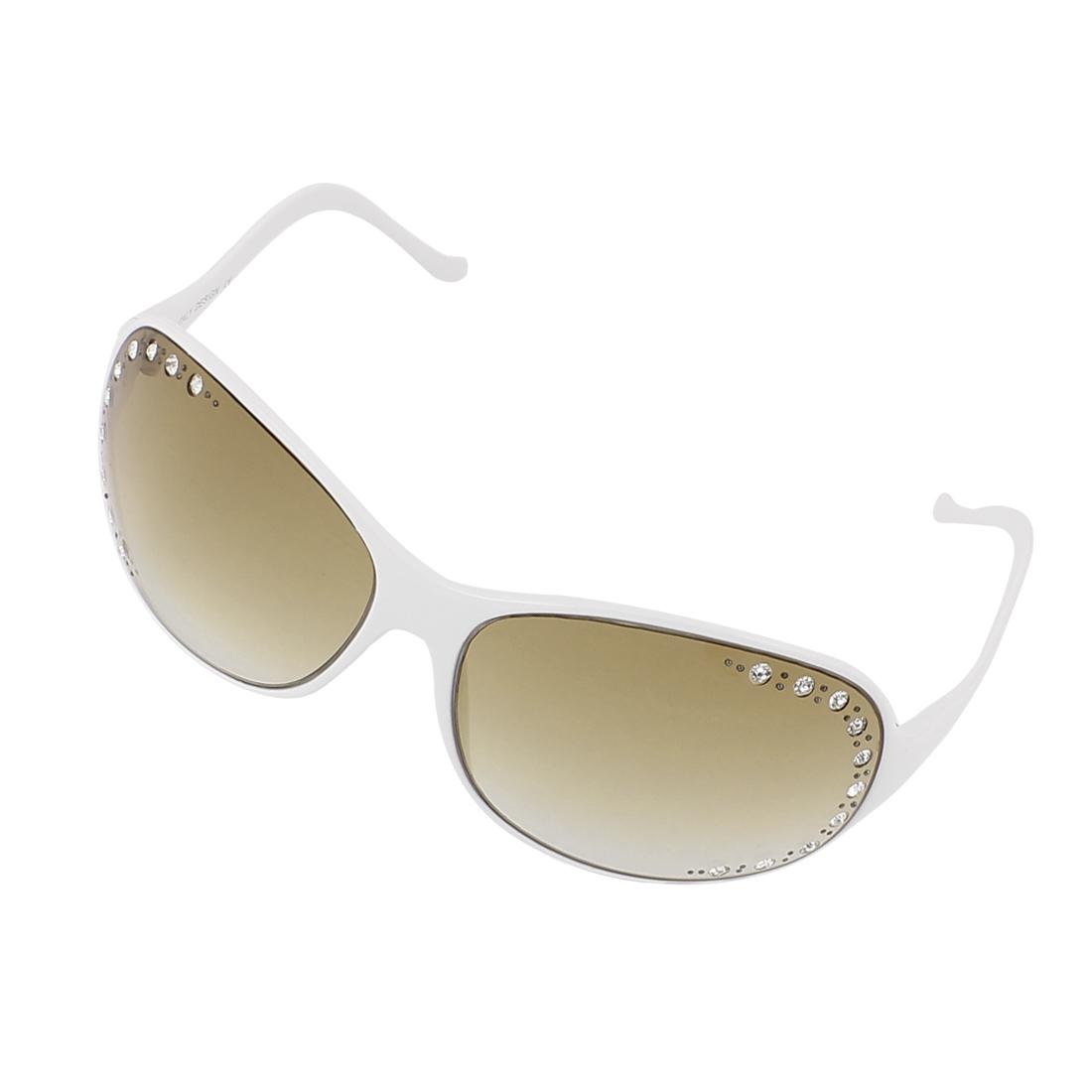 Lady Rhinestone Decor Shades Slim Rim Sunglasses Eyewear Glasses White