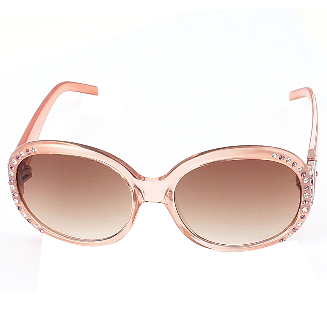 Lady Oversized Plastic Pink Frame Sunglasses Eyewear Shades