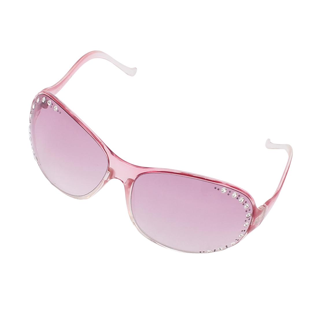 Women Rhinestone Diamond Decor Oversized Sunglasses Eyewear Glasses