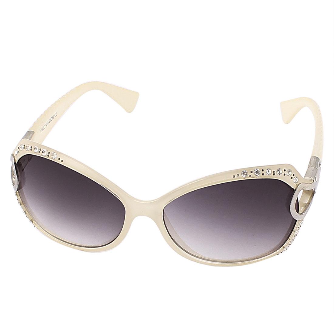 Lady Rhinestone Decor Full Frame Sunglasses Shield Eyeglasses Eyewear