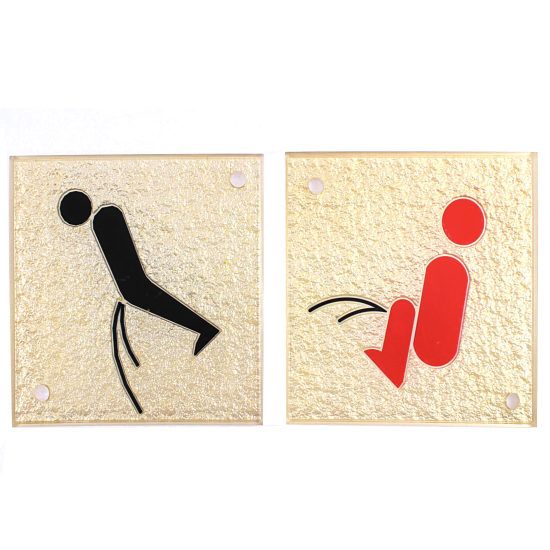 Wall Mount Square Design Restroom Sign Men Women Instruction Board Pair