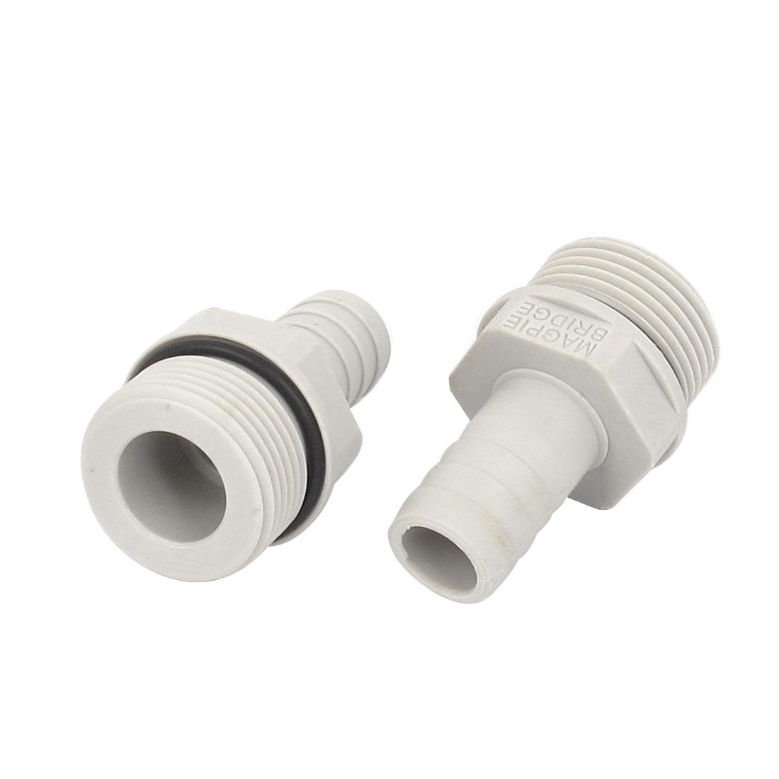 3/4BSP Male Thread 14mm Inner Dia Air Pneumatic Plastic Hose Barb Coupler 2pcs