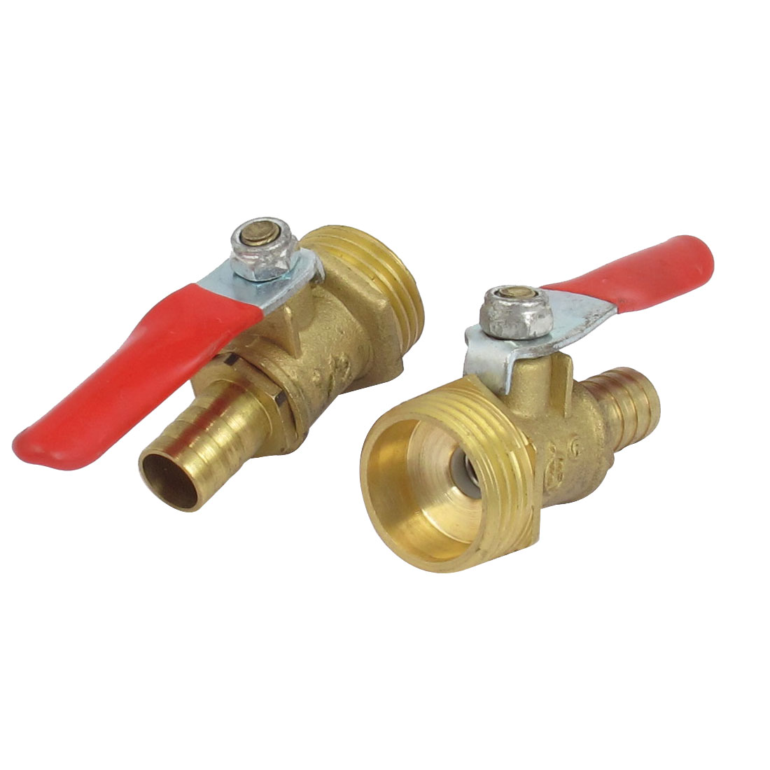 1/2BSP Male Thread 10mm Inner Dia Red Lever Handle Gas Ball Valve Connector 2pcs