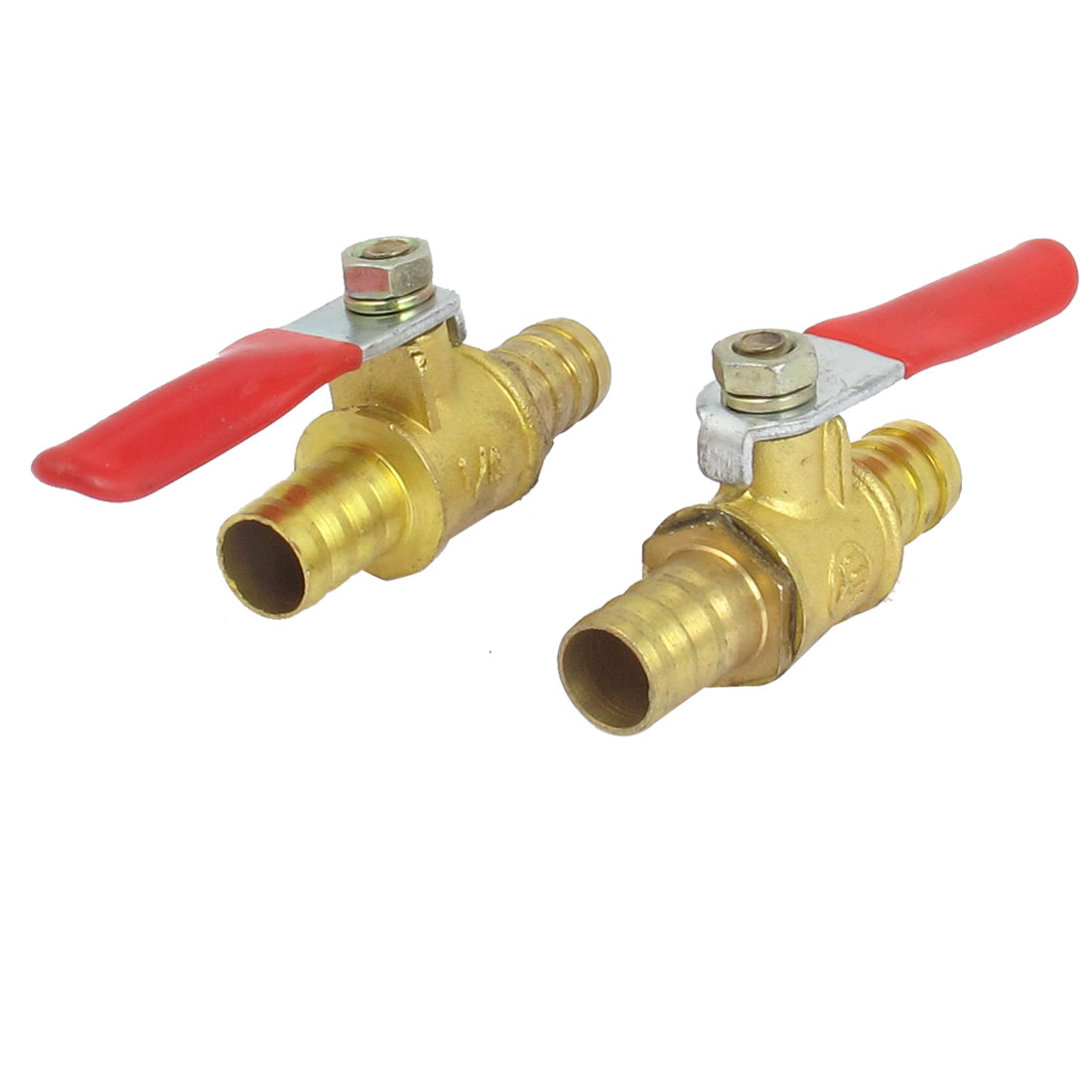 10mm Inner Dia Dual Hose Tail Red Lever Handle Brass Gas Ball Valve 2pcs