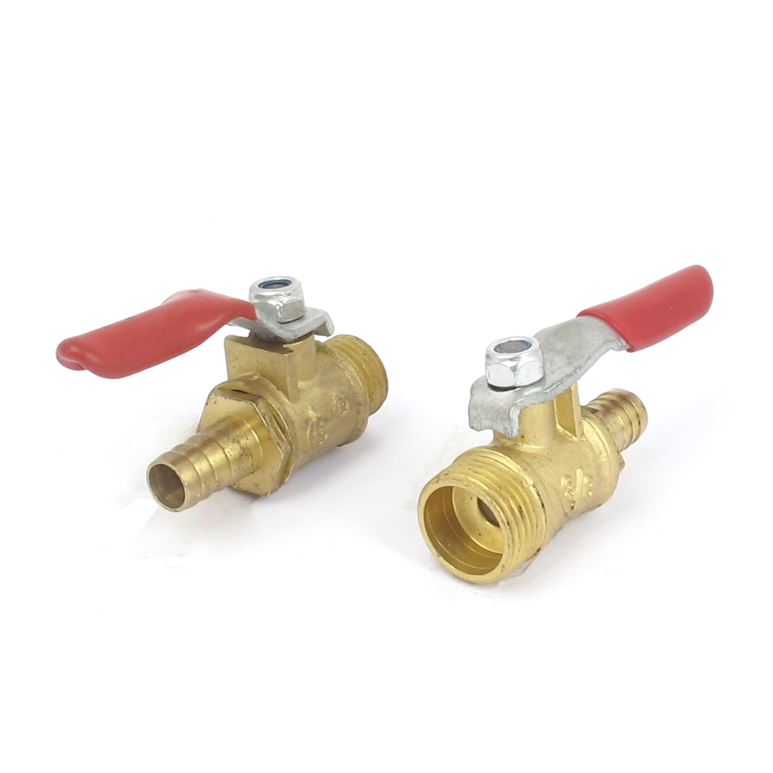 3/8BSP Male Thread 8mm Inner Dia Red Lever Handle Gas Ball Valve Connector 2pcs