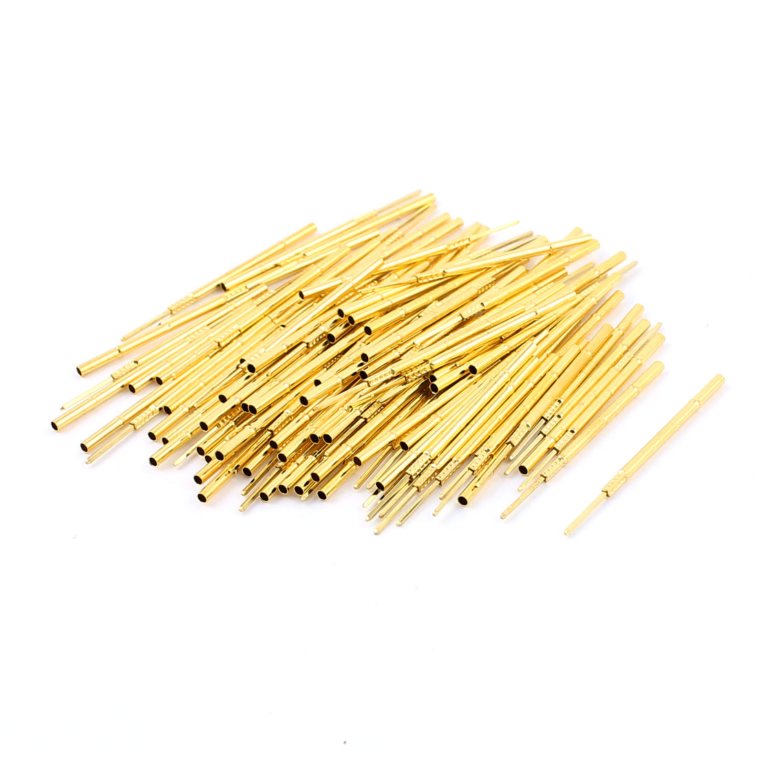 P100-4W 40mm Length Metal Test Probe Receptacle Gold Tone 100pcs