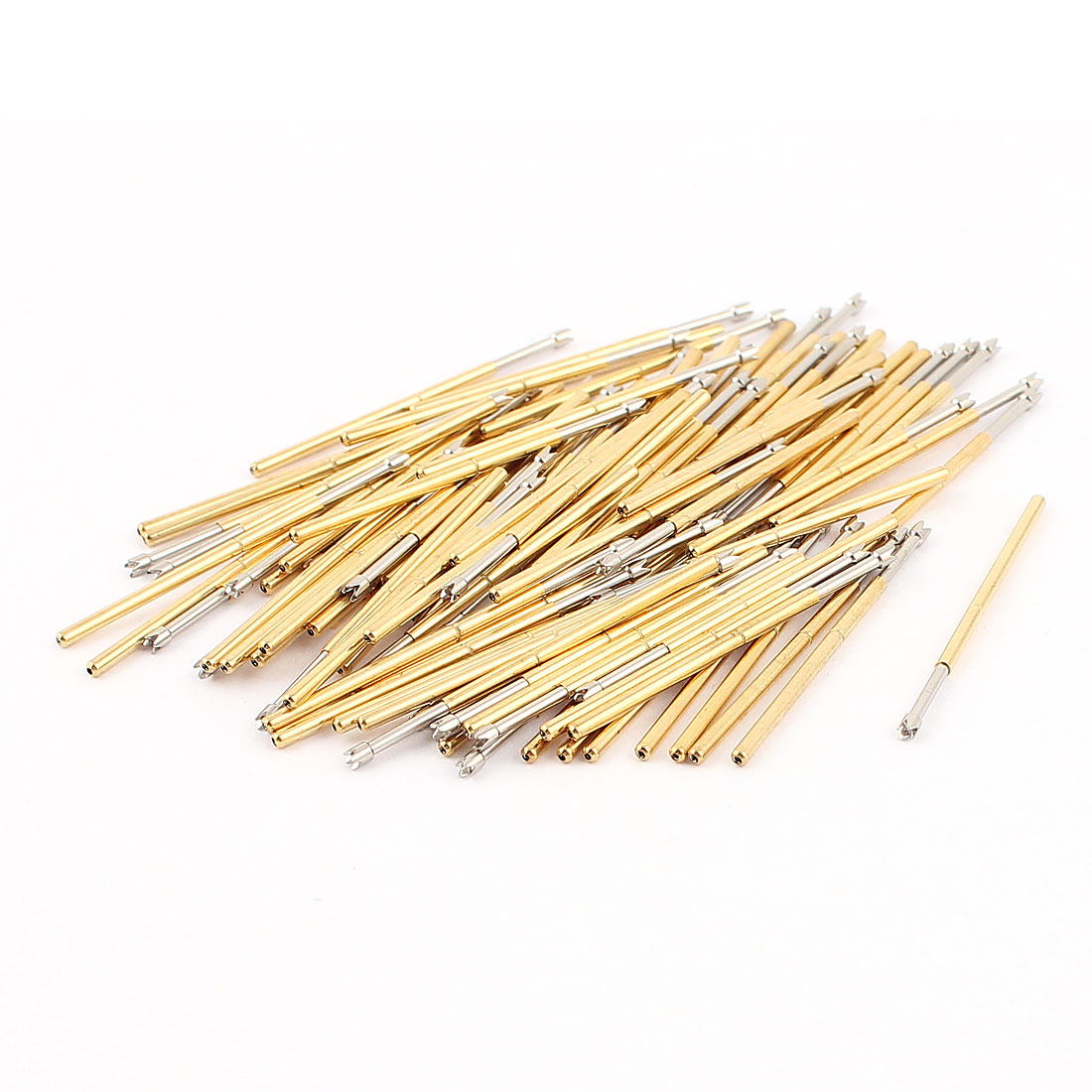 P100-Q2 4-Pointed Crown Tip 33mm Length Metal Spring Test Probe Pin 100pcs