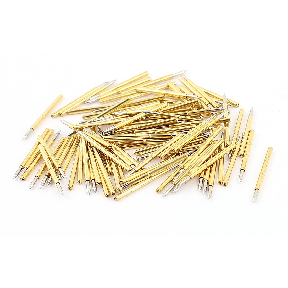 P75-B 0.74mm Dia 16mm Length Point Tip Metal Spring Test Probe Pin 100pcs
