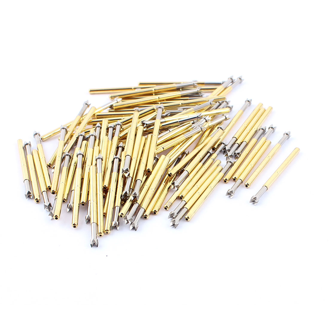 P125-Q2 2.5mm Dia Crown Tip 33mm Length Metal Spring Test Probe Pin 100pcs