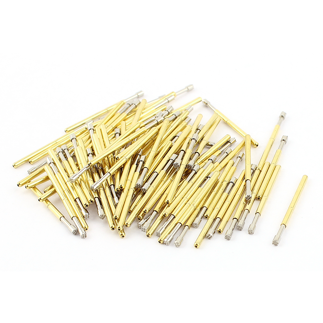 P125-H2 1.5mm Dia Serrated Tip 25mm Length Metal Spring Test Probe Pin 100pcs