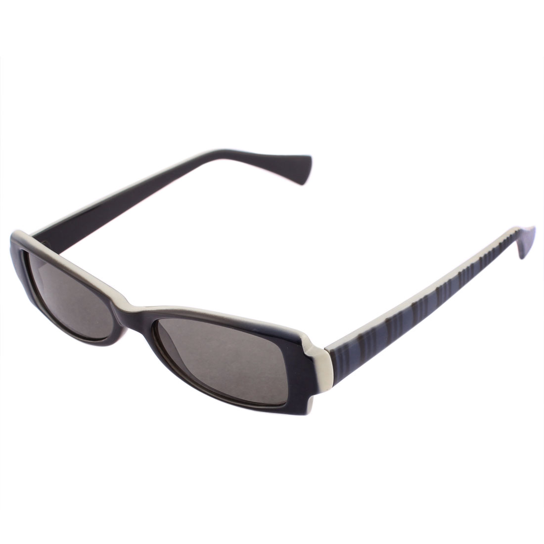 Stripe Printed Rectangular Plastic Full Frame Black Lens Outdoor Sunglasses