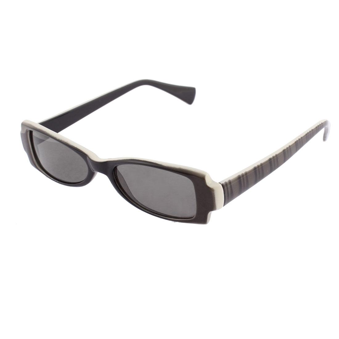 Stripe Printed Rectangular Shape Plastic Full Frame Black Lens Outdoor Sunglasses