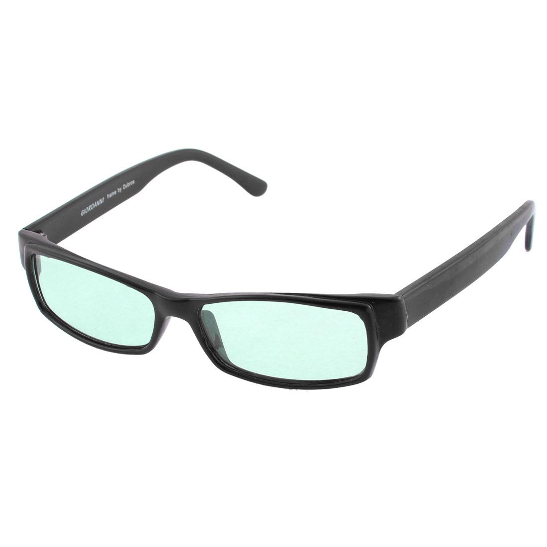 Unisex Black Full Frame Single Bridge Green Lens Eyes Protector Sunglasses