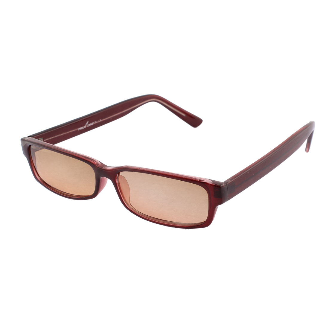 Plastic Rectangular Shape Full Frame Outdoor Sporting Sunglasses Burgundy