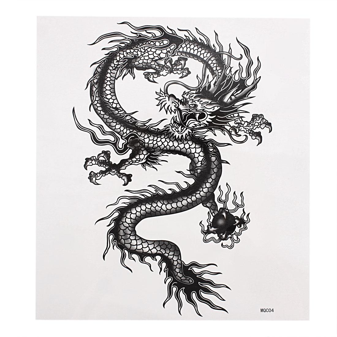 Dragon Printed Body Art Sticker Temporary Tattoo Black White