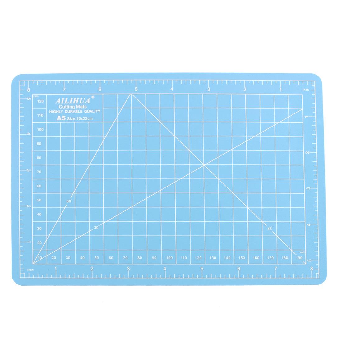 Non Slip Self Healing Grid Lines Board A5 Cutting Mat Blue 15 x 22cm