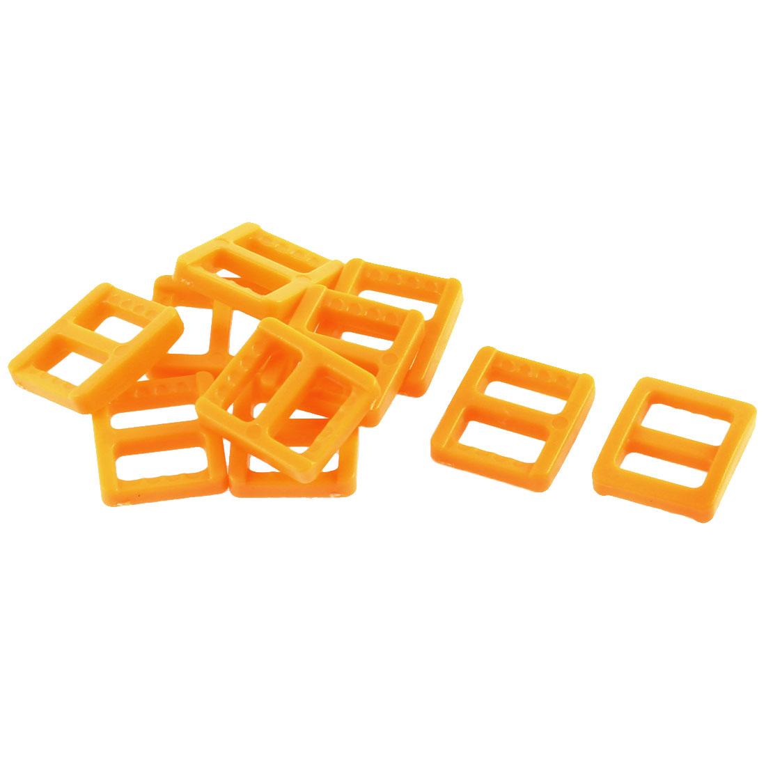 Plastic Tri Glide Buckles Yellow 11mm Strap Width 10Pcs