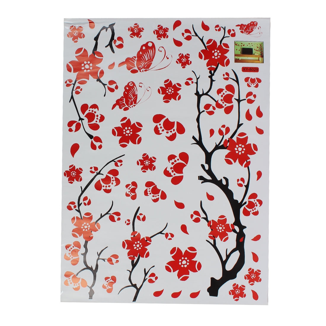 Vinyl Butterfly Tree Branch Trunk Wall Art Sticker Decal Home Decor Mural Red