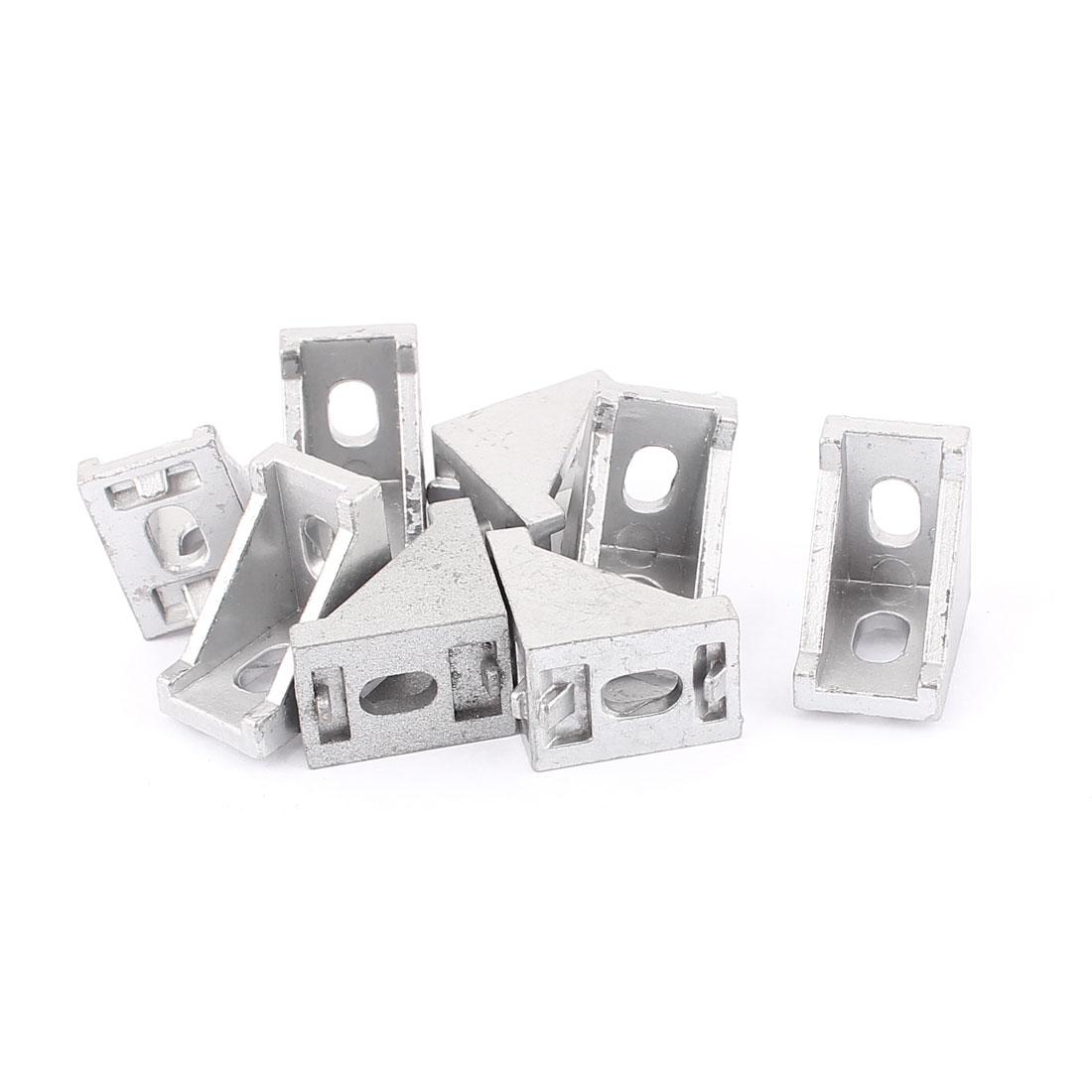 Silver Tone Aluminum Alloy 28x28x20mm Corner Brace Angle Bracket Support 8PCS