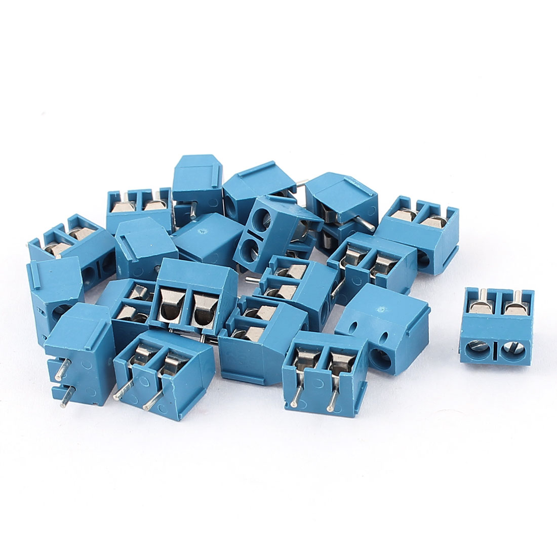 20Pcs AC 300V 10A PCB Terminal Block Connector 5.0mm Pitch Blue
