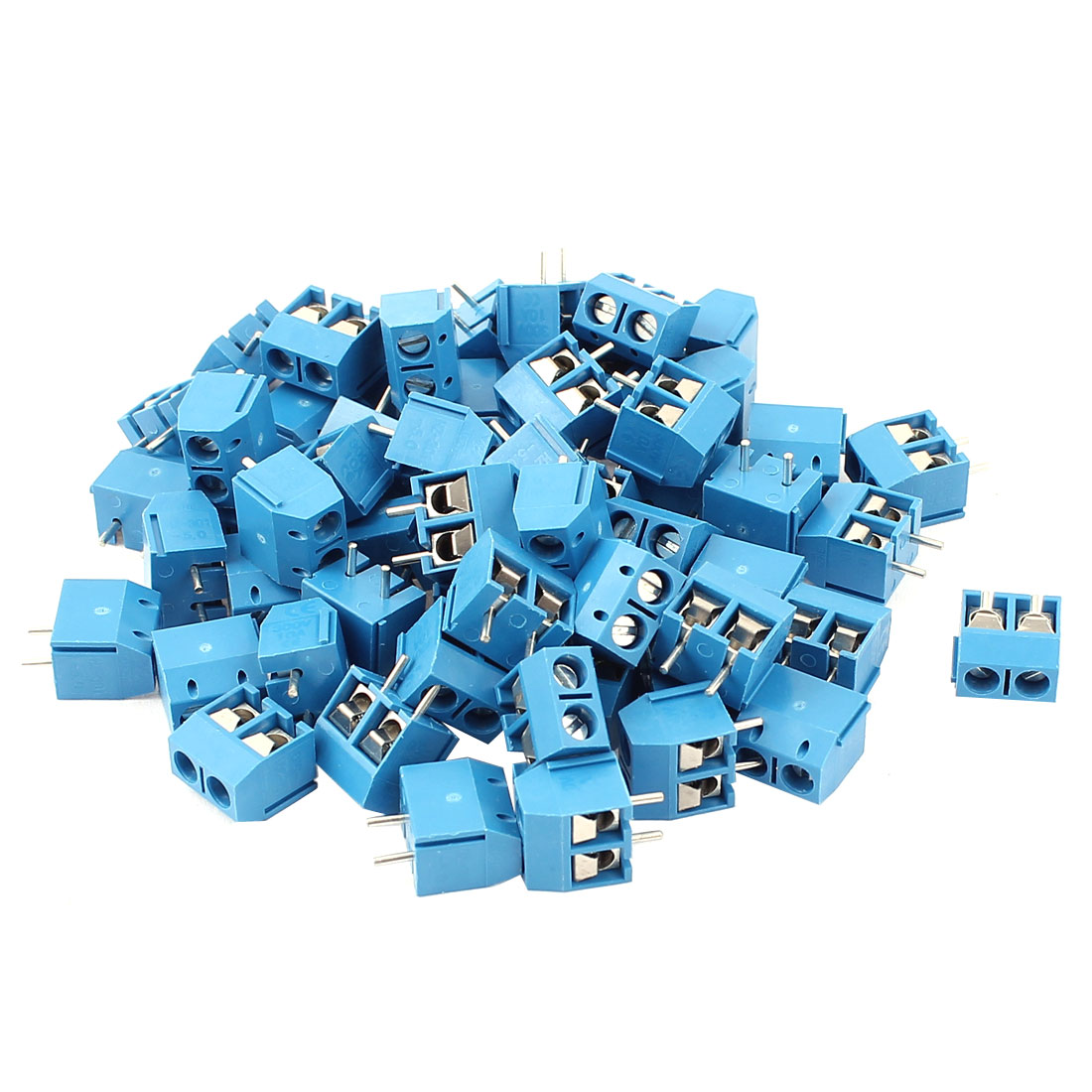 60Pcs AC 300V 10A PCB Terminal Block Connector 5.0mm Pitch Blue