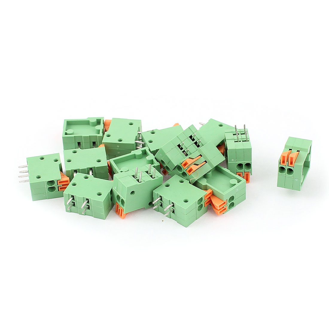 15Pcs KF141R 2Position 2.54mm Pitch 4 Spring Terminal Blocks Connectors 150V 2A
