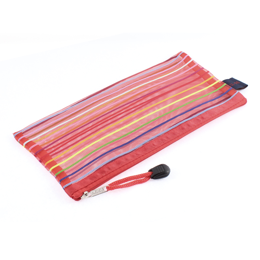 Meshy Style Stripes Zip Up B6 Paper Document File Pen Bag Holder Red