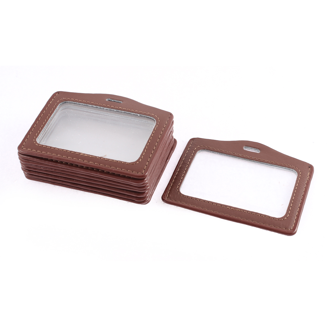 Office School Horizontal Business ID Card Badge Holder Brown 10 Pcs
