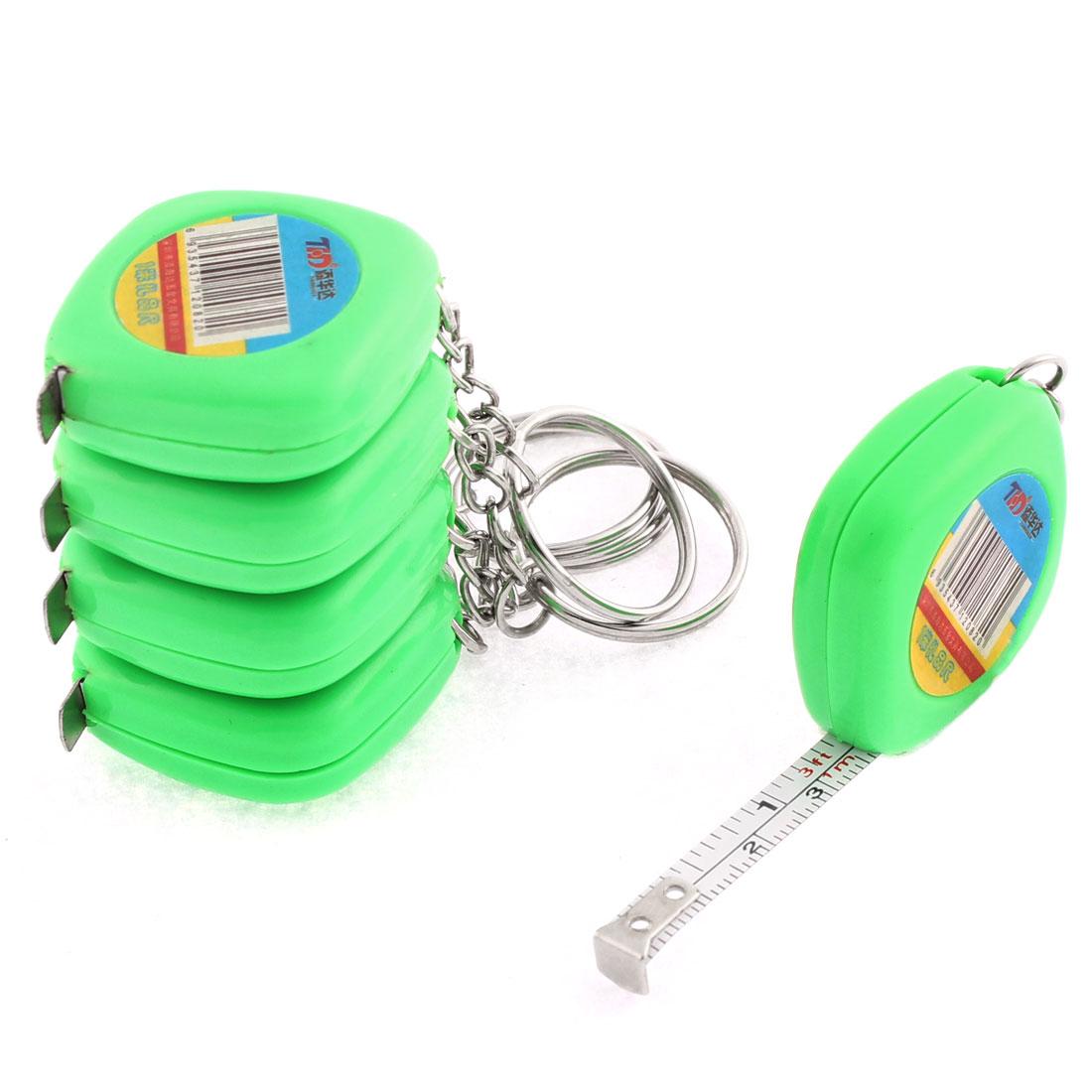 Plastic Case Split Ring Retractable Metric Ruler Tape 1M 3Ft Green 5 Pcs