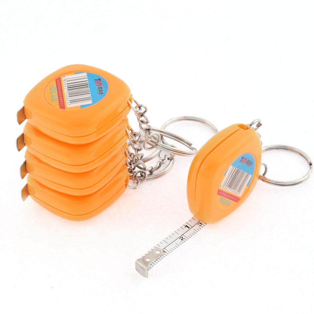 Plastic Case Split Ring Retractable Metric Ruler Tape 1M 3Ft Orange 5 Pcs