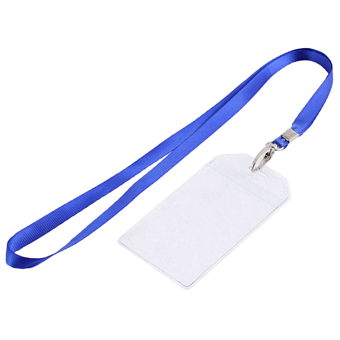 Office School Nylon Neck Lanyard Vertical ID Card Badge Holder 85mm x 55mm Blue