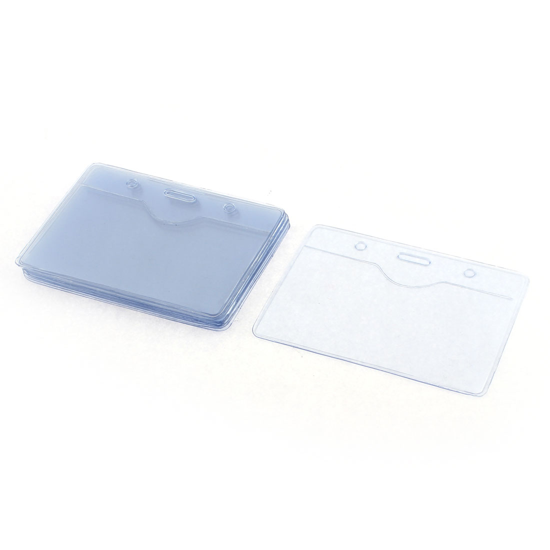 Soft Plastic Horizontal Badge Pocket ID Card Holder 90mm x 54mm 10 Pcs