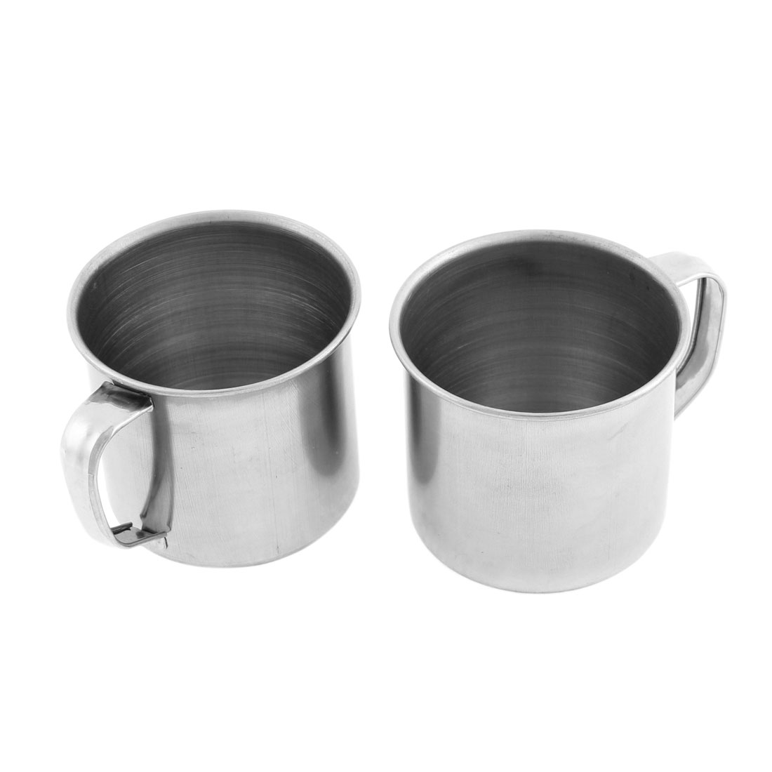 Home Office Stainless Steel Lidless Water Cup Drink Mug Sliver Tone 6cm Height 2 Pcs