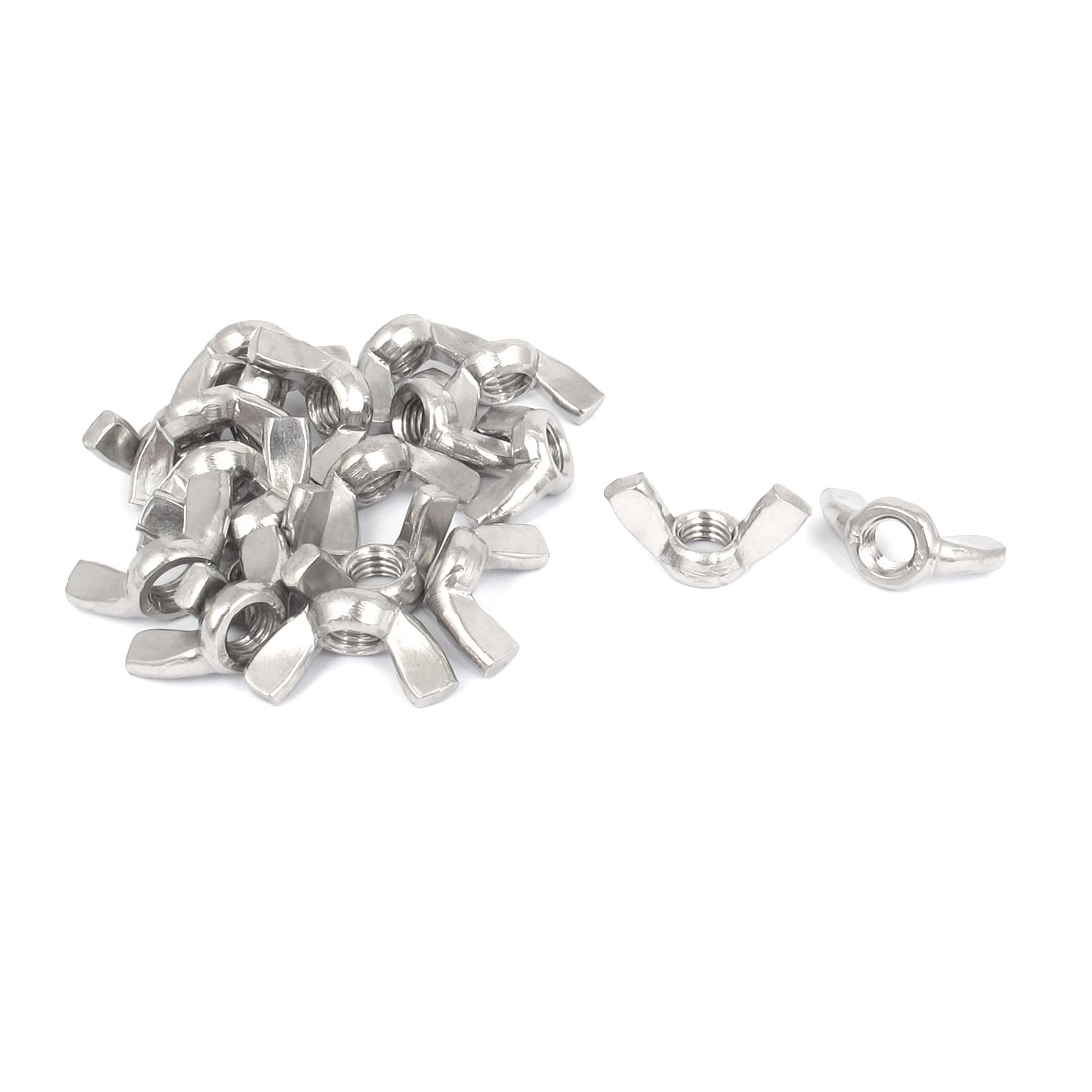 M8 Female Thread Dia 304 Stainless Steel Wingnut Butterfly Wing Nuts 20Pcs