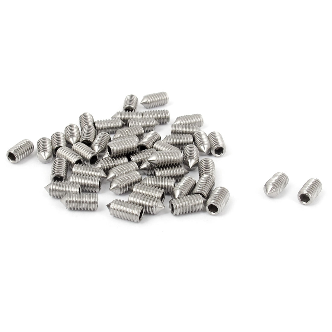 M4x8mm 304 Stainless Steel Cone Point Hexagon Socket Grub Screws 50pcs