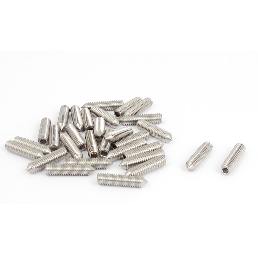 M4x16mm 304 Stainless Steel Cone Point Hexagon Socket Grub Screws 30pcs