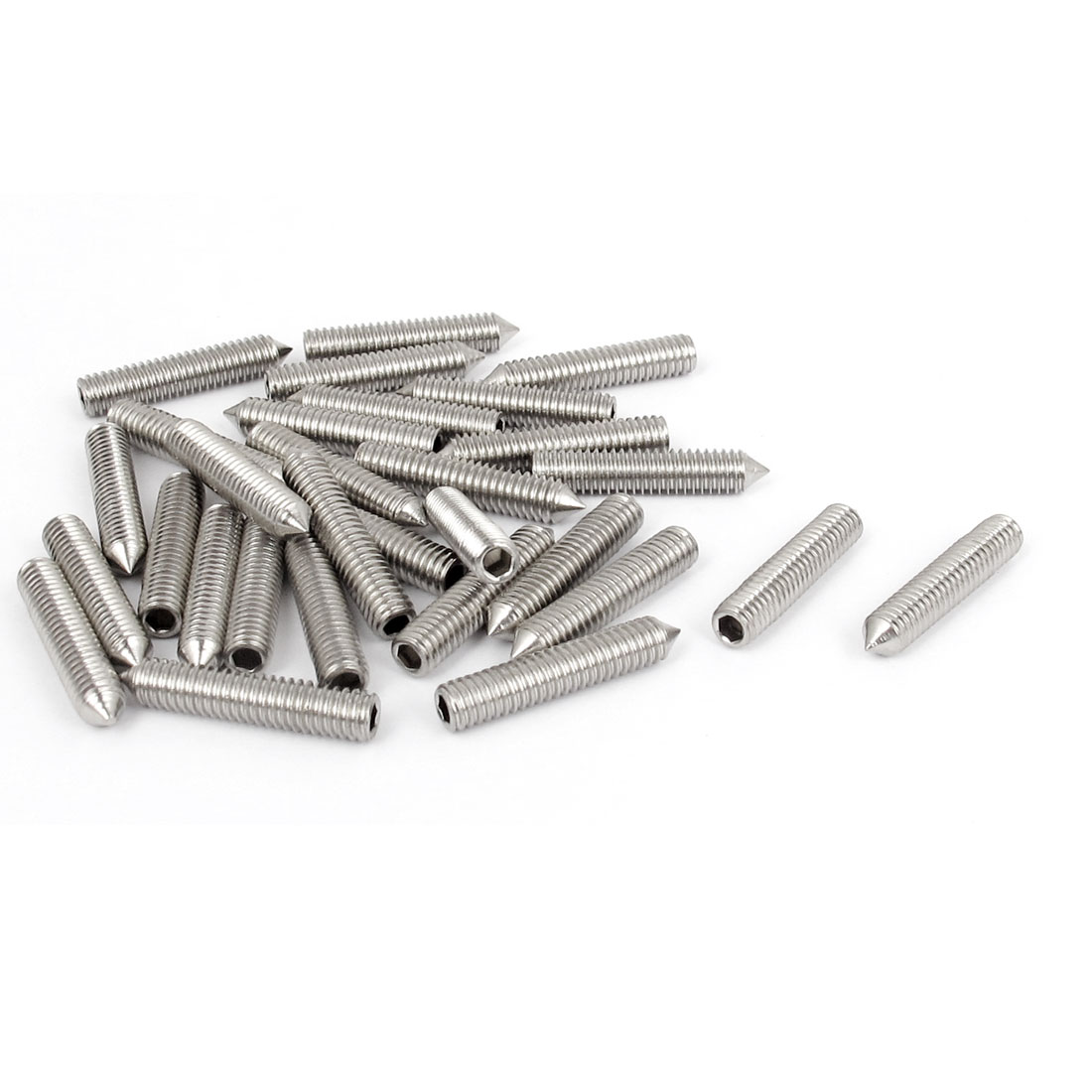 M4x20mm 304 Stainless Steel Cone Point Hexagon Socket Grub Screws 30pcs