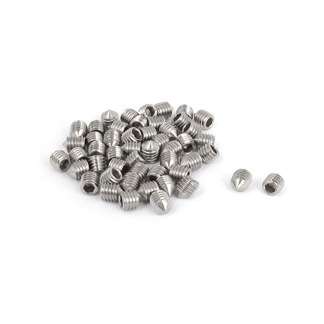 M5x6mm 304 Stainless Steel Cone Point Hexagon Socket Grub Screws 50pcs