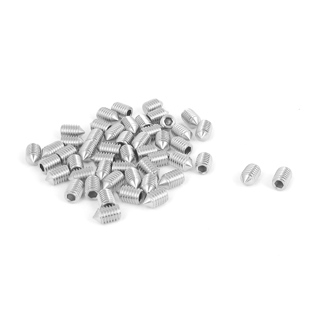 M5x8mm 304 Stainless Steel Cone Point Hexagon Socket Grub Screws 50pcs