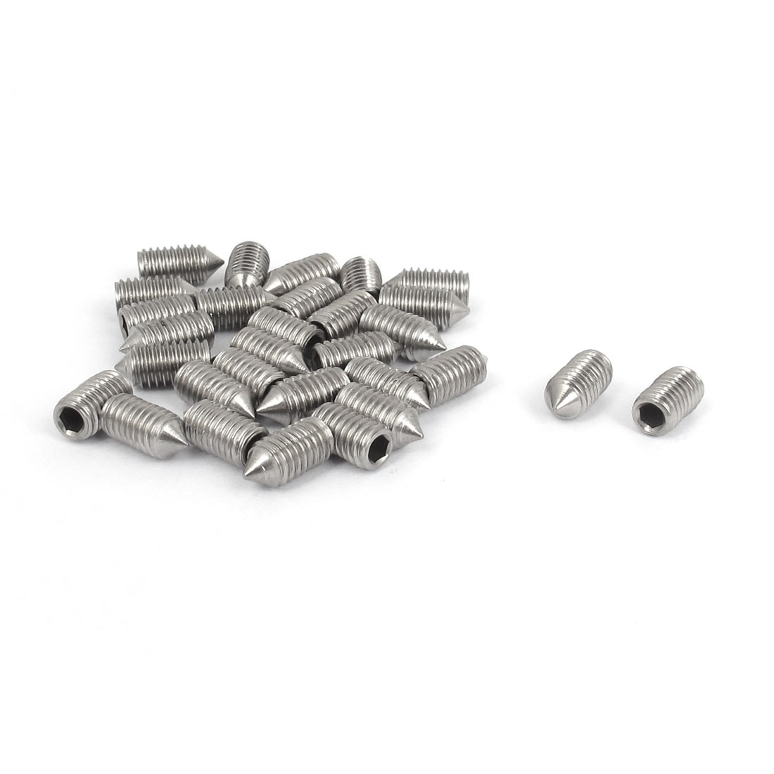 M5x10mm 304 Stainless Steel Cone Point Hexagon Socket Grub Screws 30pcs