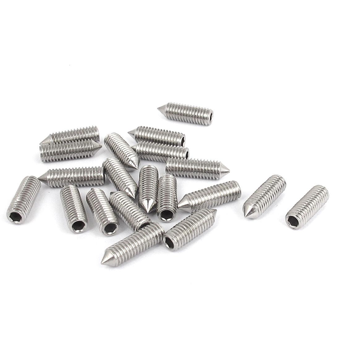 M5x16mm 304 Stainless Steel Cone Point Hexagon Socket Grub Screws 20pcs
